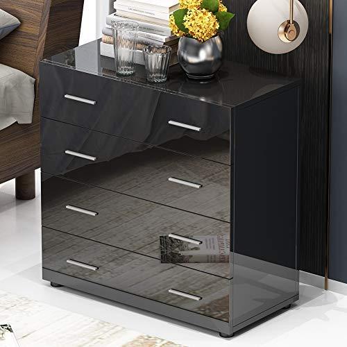 GOTOTOP kist van 4 laden, moderne hoge glanzende lades kast opslag Unite nachtkastje nachtkastje nachtkastje einde tafel hout jurken tafel