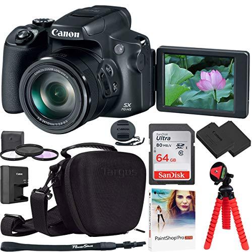 Canon PowerShot SX70 HS 20.3MP 65x Optical Zoom Digital Point & Shoot Camera Bundle