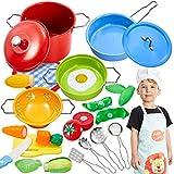 Buyger Kinderküche Spielküche Zubehör Kochgeschirr Spielzeug Kinder Küchenspielzeug Schneiden Gemüse Edelstahl Töpfe Pfannenset Schürze und Kochmütze für Mädchen Jungen