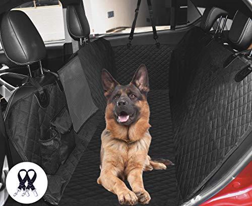 Cadosoigh Funda Perros Coche, Funda de Asiento para Perros Impermeable y Resistente, Protector Coche Perros con Rejilla Flexible Pasar Aire, Universal para SUV, Camión, Transportar y Viaje (Negro)