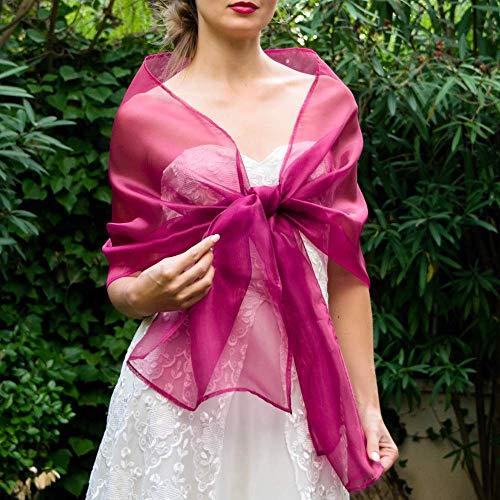 Chal organza color fucsia pink rosa novia boda