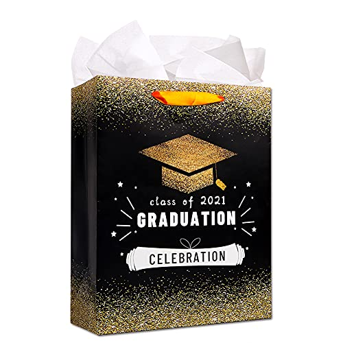"""FLYAB 2021 Graduation Gift Bags 13"""" Large Gift Bag with Wrapping Tissue Paper,Graduation Gift Bag,Graduation Party Favor Bags for High School,College,Senior,Junior,High 8th Grade Graduates Students"""