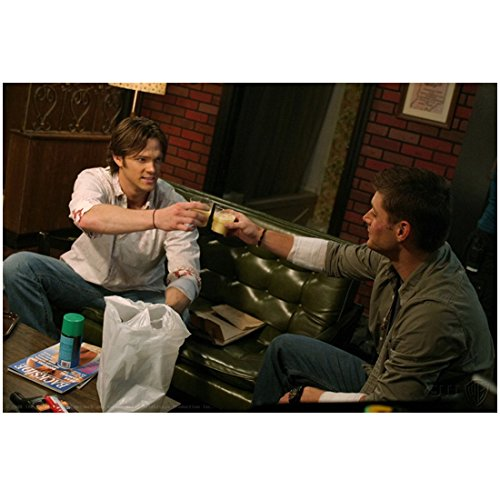 Supernatural Jared Padalecki as Sam Winchester Smiling with Jensen Ackles as Dean Winchester Cheers 8 x 10 Inch Photo