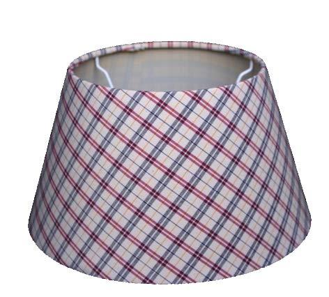 Lampenschirm für Tischleuchte in Rund Oxford Rot Kariert TL 25-18-14