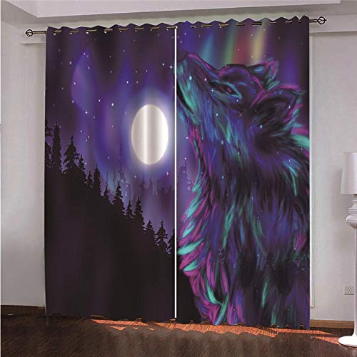 QHDHGR Blackout Curtains Eyelets Purple & Wolf Thermal Insulated Bedroom Curtains Ring Top Solid Curtains Kidsroom Window Treatments 2 Panels size: 2 x W66 x H72 Inch
