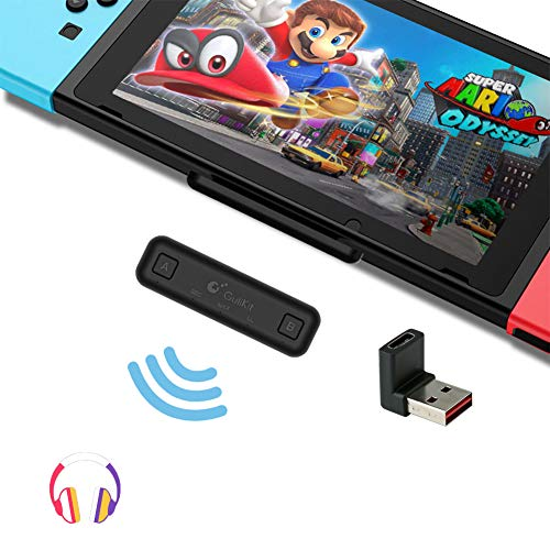 GuliKit Route Air Bluetooth Adapter for Nintendo Switch/Switch Lite PS4 PC, Dual Stream Bluetooth Wireless Audio Transmitter with aptX Low Latency Connect Your AirPods Bluetooth Speakers Headphones