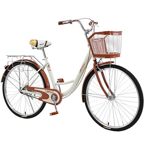 26 Inch Beach Bike for Women (Basket&Back Seat Included) Beach Cruiser Bicycle,Classic Retro Bicycle, Comfort Bike for Picnic&Shopping, Multi-Color to Choose (Coffee)
