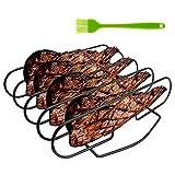 harupink Spare Rib Halter BBQ, Rippchenhalter Grillen mit Grillpinsel 6 Rippen beidseitig nutzbar Bratenkorb zum Grillen für Rindfleisch Hähnchen Lammkoteletts Steaks und Rippchen