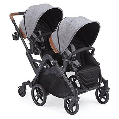 Contours curva doble en tándem cochecito para bebés, niños pequeños o gemelos - 360 ° encendido, opciones de asientos múltiples, gris grafito