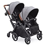 Contours Curve Tandem Double Stroller for Infants, Toddlers or Twins - 360° Turning, Multiple Seating Options, Graphite Gray