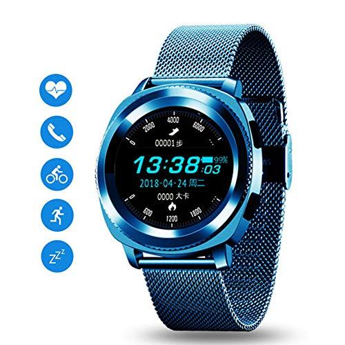 JSX Smart Watch, Wasserdicht IP68 Heart Rate Monitor Bluetooth Smartwatch Antwort Anruf Fitness Tracker-Uhr Für Xiaomi Smart Phone,Blau