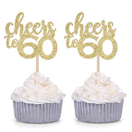 24 Counts Cheers to 60 Cupcake Toppers Age Sixty 60th Birthday Celebrating Party Supply
