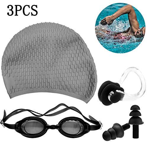 Gorro Piscina, Gris Gorro de natación de Silicona para Adultos con Gafas de natación + Clip de Nariz + Tapones para los oídos + Carcasa, Equipo Completo