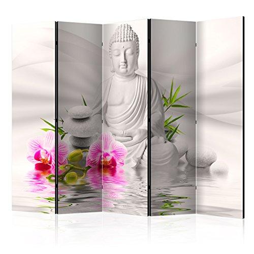 murando Raumteiler Buddha Foto Paravent 225x172 cm beidseitig auf Vlies-Leinwand Bedruckt Trennwand Spanische Wand Sichtschutz Raumtrenner grau Rose b-A-0011-z-c