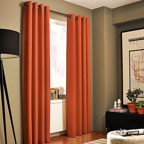 Gorgeous Home (#32) 1 Panel Solid Plain Thermal Foam Lined Blackout Heavy Thick Window Curtain Drapes Silver Grommets (Orange, 63' Length)