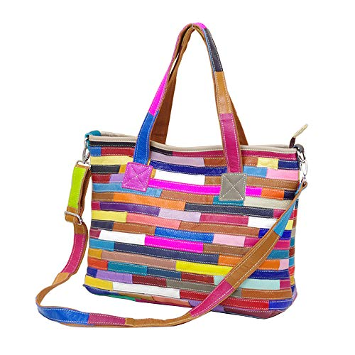 Segater® Frauen Mehrfarbig Tote Handtasche Echtes Leder Farblich passende Design-Umhängetasche Hobo Schultertaschen Patchwork bunte Geldbörsen Henkeltaschen