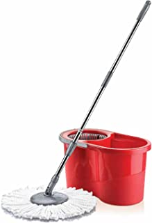 STERLING PRODUCT 3Pcs Mop Bucket Cleaning Caddy Set with Mop Head; Machine Washable Microfibre Cloth Grips Dirt & Grime; Reinforced Mop Stick with 360° Spin, Red Colour, 16 Litter Bucket)