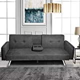 MIERES Modern Futon Couch for Living Room Fold Up & Down Recliner Sofa Bed w/Removable Armrest and 2 Cup Holders Convertible Love Seat, Home Furniture for Apartment Essential, Dark Gray