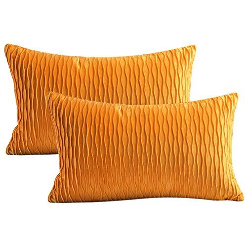 Dake 2er Set Kissenbezüge, Samt Gestreift Dekorative Kissenhülle, Super Weich Kissenbezug für Sofa Couch Wohnzimmer Schlafzimmer Autos Gelb 30x50cm
