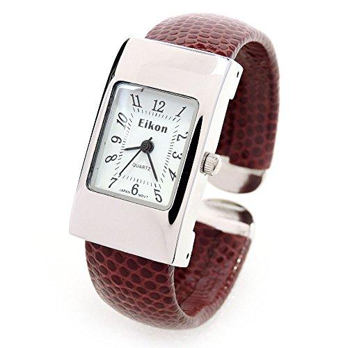 Reloj de pulsera estilo brazalete para mujer, esfera rectangular, correa diseño de serpiente, color marrón y plateado