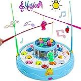 jerryvon Juegos de Mesa de Pesca Musical con Caña de Pescar Doble Capa Brillo Rotate Educativos Juguetes para Niños Niñas 3 4 5 6 Años