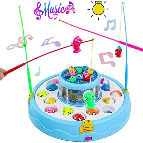 jerryvon Fische Angelspiel Party Musik Spiele mit 26 Fische und 4 Ruten Eltern-Kind-Unterhaltungs-Lebenssimulations Angelspiel für Kinder ab 3 4 5 6 Jahren