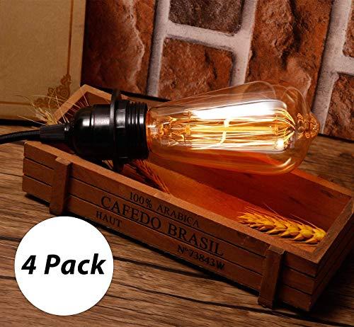 4-Pack Edison Bulb HUIBONA Vintage Incandescent Light Bulbs Dimmable Amber Warm E26 Base Decorative Lightbulbs