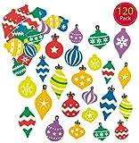 Baker Ross Pegatinas de espuma con Forma de Bolas de Navidad (Paquete de 12) Para decorar tarjetas, collages y manualidades infantiles