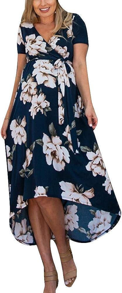 Vestido Floral de Maternidad de Verano para Mujer Embarazada Vestido de Verano con Cuello en V Casual Vestido de Flores de Manga Corta Ropa al Aire ...