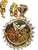"""Fran & Co. Gold Plated Coin Centenario Mexicano Moneda 50 Pesos Pendant Chain CZ Oro Cadena 26"""""""