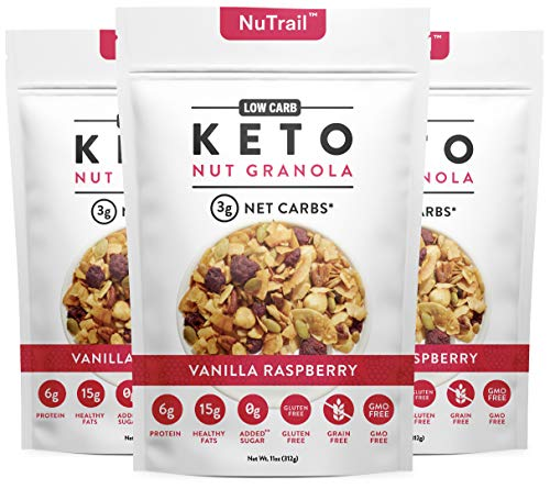 NuTrail™ - Keto Vanilla Raspberry Nut Granola Healthy Breakfast Cereal - Low Carb Snacks & Food - 3g Net Carbs - Gluten Free, Grain Free - Almonds, Pecans, Coconut chips, nuts and more (1 Count)
