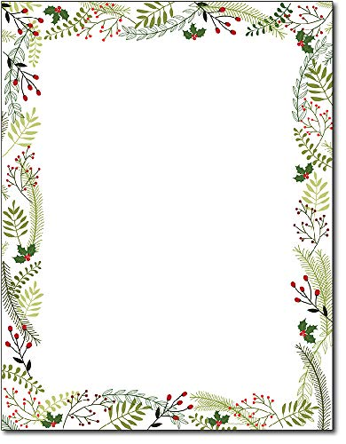 Merry Twigs & Holly Christmas Stationery Paper - 80 Sheets