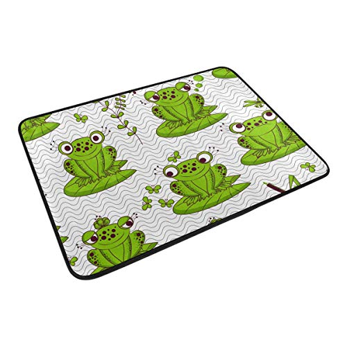 Ahomy Fußmatte Cartoon Frösche Wasser Insekten Chevron hoch saugfähig rutschfest Matten Bereich Teppiche für Innen und Außen 40 x 60 cm