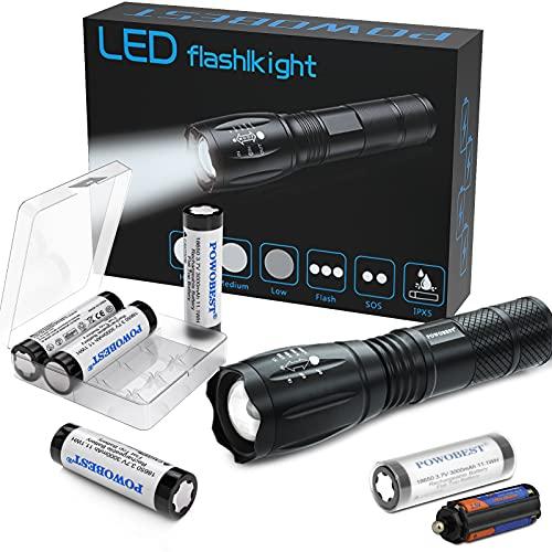 POWOBEST Torcia portatile a LED con batteria ricaricabile 4 x 18650, torce a batteria 18650 con 5 modalità di illuminazione per campeggio, ciclismo, corsa, viaggio all'aperto
