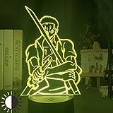 Lampada 3D Anime One Piece Roroya Zoro con figura di spada e luce notturna, decorazione principale, regalo di compleanno per bambini, 7 colori