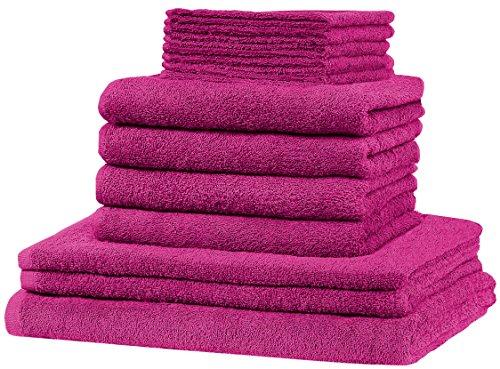 GREEN MARK Textilien 12 TLG. Frottier Handtuch XXL Set: alle Größen abgedeckt! - 5X Gästetücher, 4X Handtücher, 2X Duschtücher, 1x Badetuch - 100{d20b7718b3544377e888769b5946b69422cbdced2151aa8d0d6811b640dbde1b} Baumwolle 10 Top Farben (Pink)