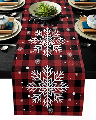 Linen Burlap Table Runner Christmas Dresser Scarf Table Decorations for Everyday Use, 13x90 Inch Table Runners for Dinner Parties & Events, Xmas Snowflake Red Black Plaid