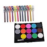 F Fityle Juego de Pintura Facial 15/12 Colores Kit de Pintura Facial Y Crayones para Niños Adultos: Maquillaje Corporal a Base de Agua Y No Tóxico, Kit de Maqu