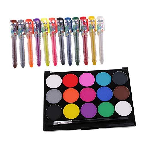 freneci Maquillage Visage Peinture 12/15 Crayons De Couleur Halloween Fantaisie Corps Kit De Peinture pour Le Visage