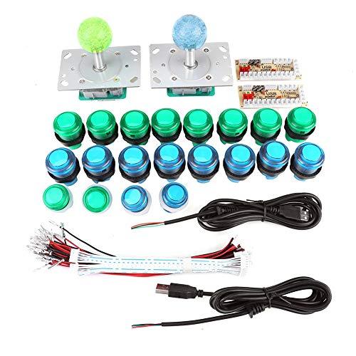 Hztyyier 2 Spieler Klassische Arcade Spiele Wettbewerb DIY Kit Teile 2 Ellipse Oval Joystick Griffe + 20 LED beleuchtete Arcade Knöpfe Arcade Mame Raspberry Pi Spiele