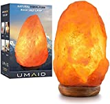 """UMAID Natural Himalayan Salt Lamp - Authentic Pakistan Crystal Rock Salt Lamp with Real Wood Base - Dimmable Pink Salt Lamp for Desk, Coffee Table - Comes with 15W Bulb - 6-8"""" (4-7 lb) Height"""