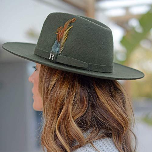 RACEU ATELIER Khaki Salter Hat - Wide Brim Fedora Hat - 100% Wool Felt - Fedoras & Trilby Hats - Water Resistant - Unisex