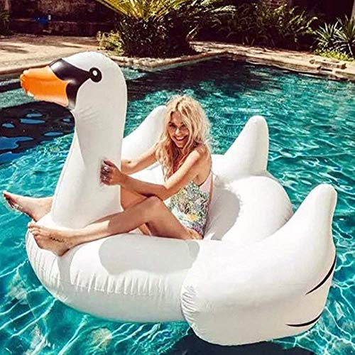 Swim Party Toys Inflatable Raft Summer Swan Instala Boyante Row With Wings Anti-Inflexión Habilidad Ecuestre Adulta Sillón Lounge Agua Mar Playa a Orilla Del Mar Cama a la Deriva Sofá 190X168X115Cm,