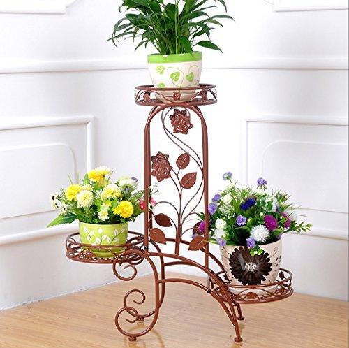Ensemble de fleurs en fer de style européen Étagères à étages intérieurs et extérieurs à plusieurs étages Balcon Salon Étagère à écran de fleur Éléments de plancher Les couleurs sont disponibles ( Couleur : Marron )