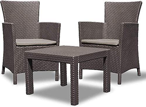 Allibert 219991 Lounge Set Rosario Balcony 2x Sessel und 1x Tisch, Rattanoptik, Kunststoff, braun*