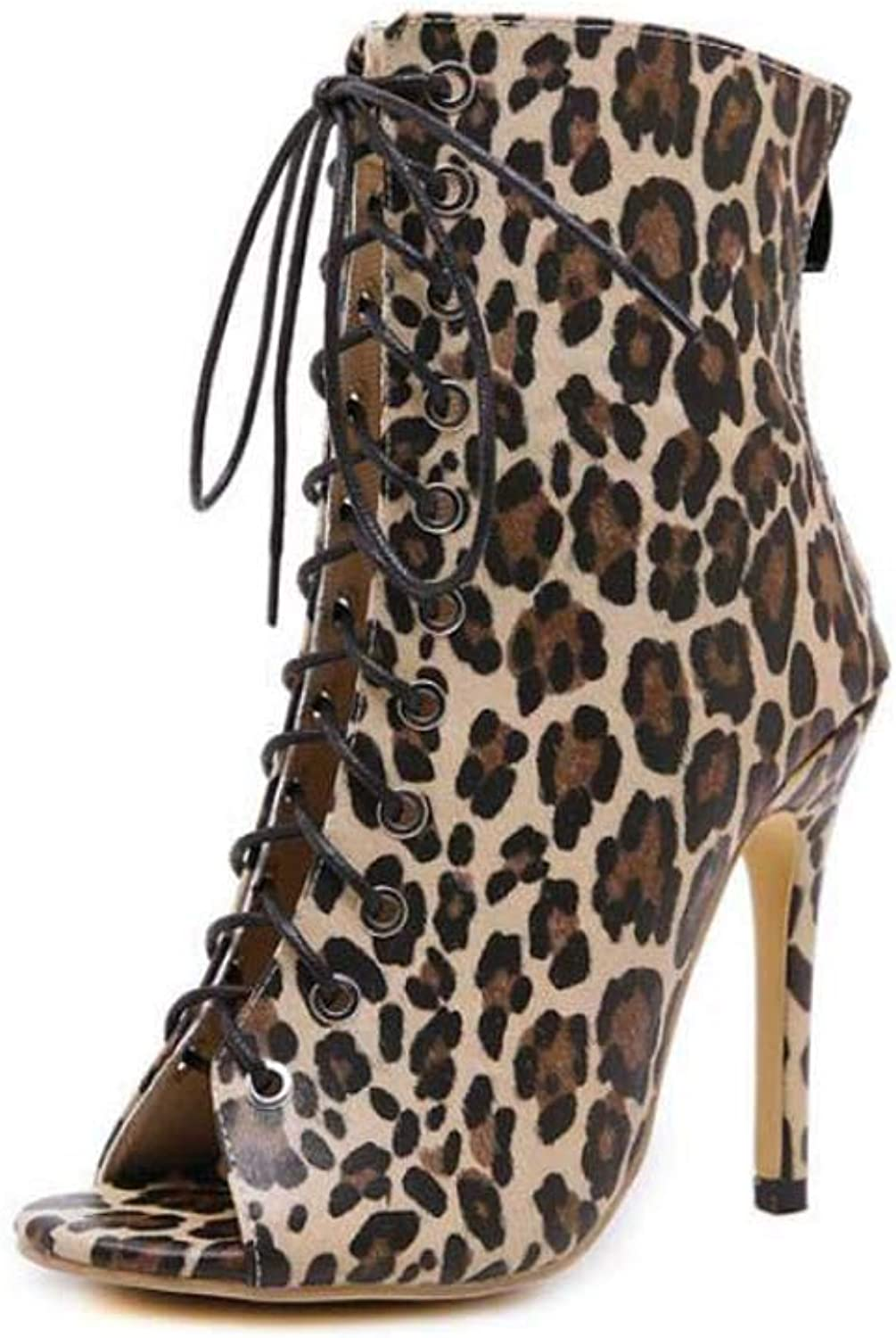 Cool Bootie Women Sexy Peep Toe Cross Straps Leopard Print Ankle Booties Roma shoes OL Court shoes EU Size 35-40