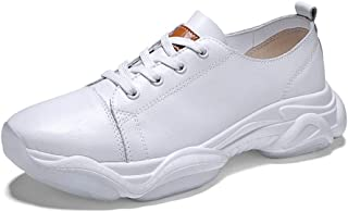 XUJW-Shoes, Athletic Shoes for Men Sports Shoes Lace Up Style OX Leather Fashion Stitching Outsole Durable Walking Shopping Travel Driving Lightweight Thick Heel (Color : White, Size : 8 UK)