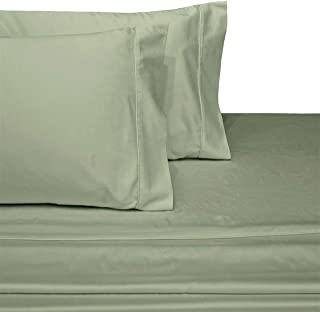 Exquisitely Lavish Sateen Solid Weave Bedding by Pure Linens, 300 Thread Count 100-Percent Plush Cotton, 4 Piece King Size Deep Pocket Hemmed Sheet Set, Sage