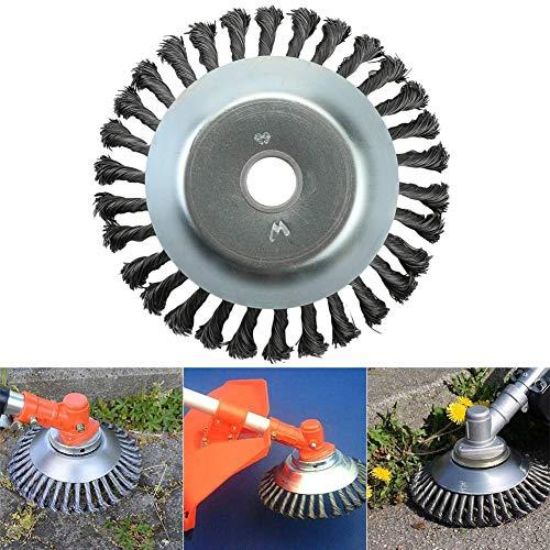 Cepillo para malas hierbas, cepillo redondo para desbrozadoras de motor, cepillo de disco, 25,4 x 200 mm, cono para malas hierbas