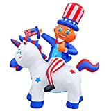 SEASONBLOW 5FT Patriotic Independence Day Inflatable Uncle Sam Riding Unicorn 4th of July Decoration Decor for Home Yard Lawn Garden Home Party Indoor Outdoor